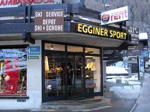 Sportgeschäft Egginer Sport im Zentrum von Saas Fee